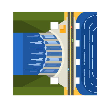 hydroelectricity: Dam On River From Above Flat Vector Illustration In Simplified Style Illustration