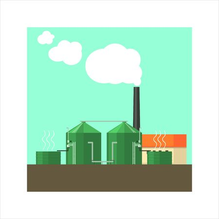 water tower: Factory With Sylos Outside Flat Vector Illustration In Simplified Style