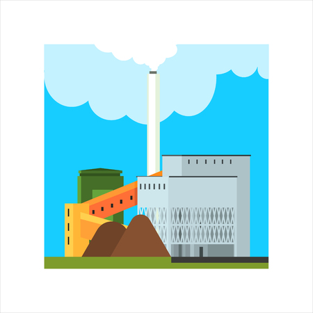 powerhouse: Gravel Factory With Ramp Flat Vector Illustration In Simplified Style Illustration