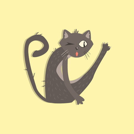 disgusting animal: Cat With Helminth Funny Flat Vector Illustration In Creative Applique Style Illustration
