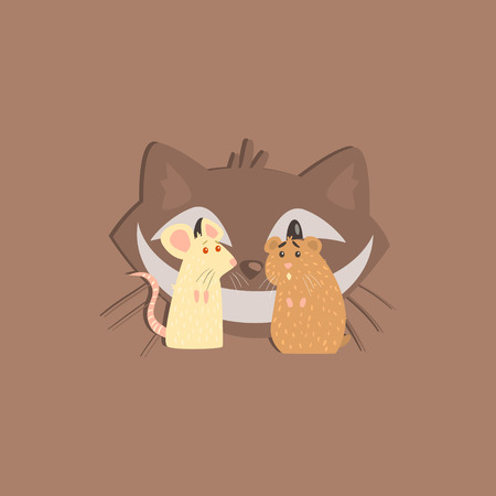 albino: Hamster, Mous And Cats Head Funny Flat Vector Illustration In Creative Applique Style Illustration