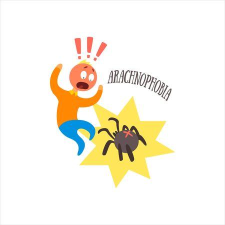 psychoanalysis: Aracnophobia Simplified Design Flat Vector Illustration On White Background