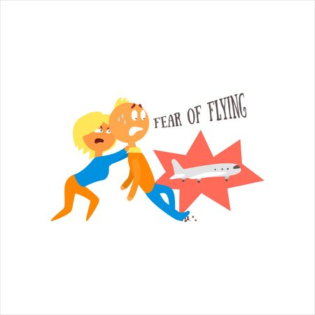 psychoanalysis: Fear Of Flying Simplified Design Flat Vector Illustration On White Background Illustration
