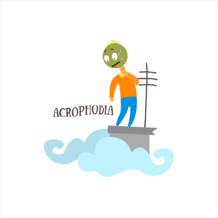 acrophobia: Acrophobia  Simplified Design Flat Vector Illustration On White Background Illustration