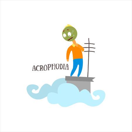 acrophobia: Acrophobia  Simplified Design Flat Vector Illustration On White Background Illustration