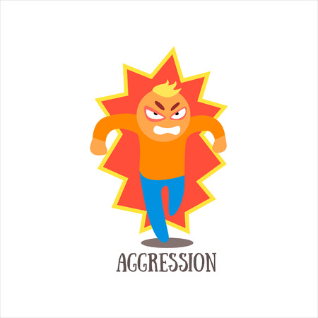 aggression: Aggression  Simplified Design Flat Vector Illustration On White Background