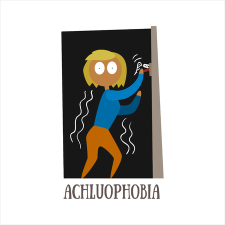 psychoanalysis: Achluophobia Simplified Design Flat Vector Illustration On White Background