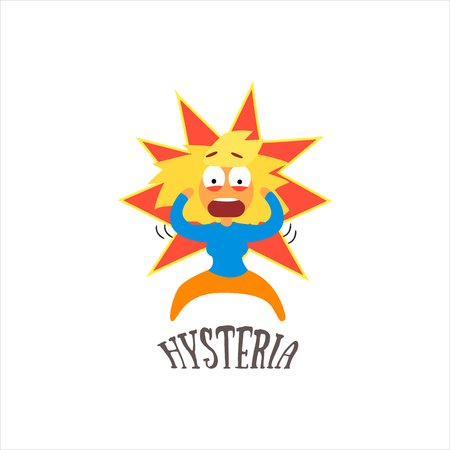 hysterical: Hysteria  Simplified Design Flat Vector Illustration On White Background