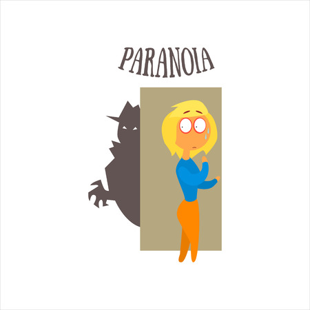 paranoia: Paranoia  Simplified Design Flat Vector Illustration On White Background