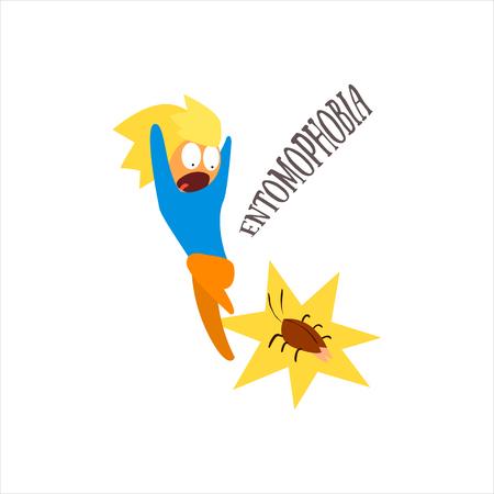 psychoanalysis: Entomophobia  Simplified Design Flat Vector Illustration On White Background