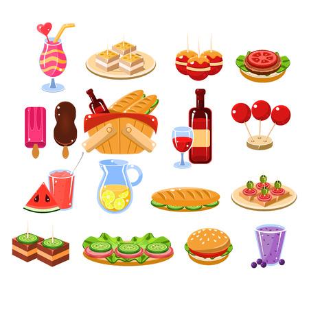 comiendo frutas: Picnic alimentaria Conjunto de dibujos animados plana Vector ilustración aisladas sobre fondo blanco
