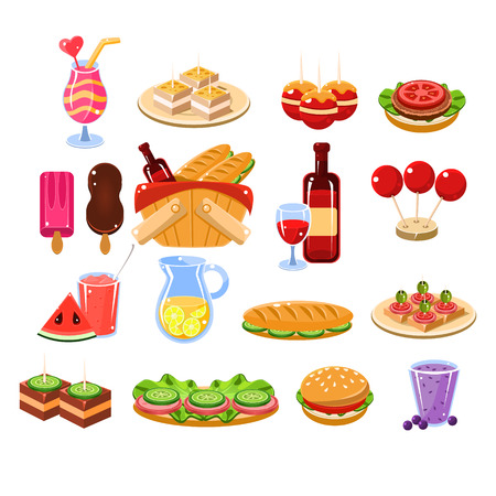 eating burger: Picnic Food And Drink Set Cartoon Flat Vector Isolated Illustration On White Background Illustration