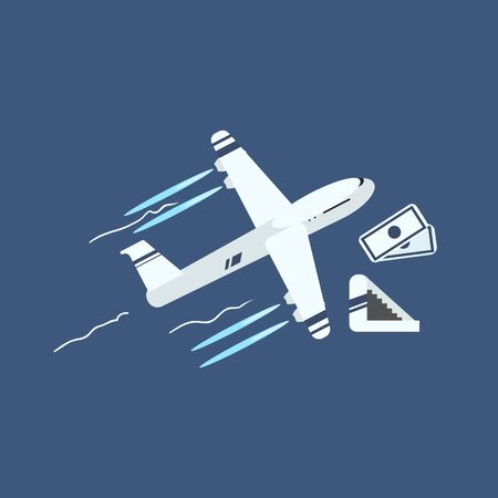 taking off: Plane Taking Off Primitive Graphic Style Flat Vector Icon On Blue Background