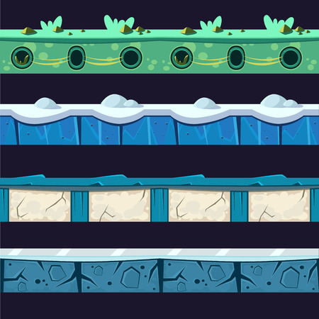 sidelight: Water And Ice Platformer Level Floor Design Set  In 2-d Vector Looped Pattern Illustration