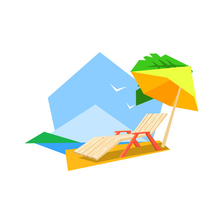 white sand beach: Beach Sunbed And Umbrella Flat Colorful Vector Illustration In Primitive Geometric Style Isolated On White Background