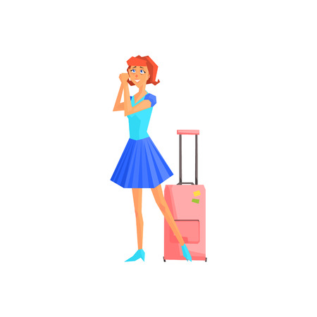short trip: Female Tourist With Suitcase Flat Colorful Vector Illustration In Primitive Geometric Style Isolated On White Background