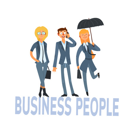 three person: Business People Set Of Three Person In Suits Simple Style Vector Illustration With Text On White Background