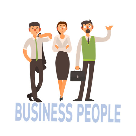 three women: Business People Set Of Three Person In Office Dress Code Clothes Simple Style Vector Illustration With Text On White Background Illustration