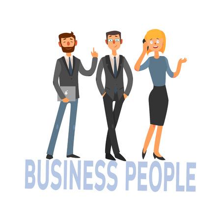 Geschäftsleute Satz von drei Büroangestellte einfache Art-Vektor-Illustration mit Text auf weißem Hintergrund