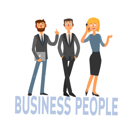 La gente de negocios conjunto de tres trabajadores de oficina simple ilustración del vector del estilo con el texto en el fondo blanco