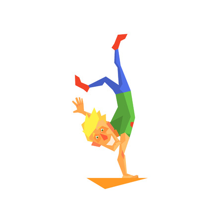 showmanship: Circus Acrobat Performing Graphic Flat Vector Design Isolated Illustration On White Background