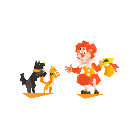 showmanship: Circus Clown Pet Trainer Performing Graphic Flat Vector Design Isolated Illustration On White Background