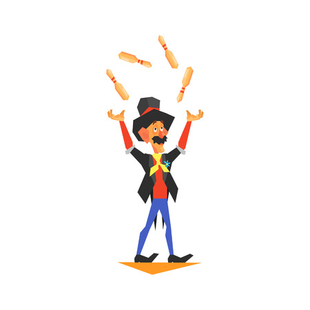 showmanship: Circus Juggler Performing Graphic Flat Vector Design Isolated Illustration On White Background