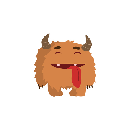 childish: Furry Childish Monster With Horns Flat Cartoon Style Isolated Vector Design Print On White Background