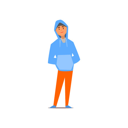 hoody: Guy In Hoody Isolated Primitive Design Style Vector Illustration on White Background