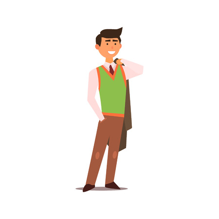 vest in isolated: Man In Vest Isolated Primitive Design Style Vector Illustration on White Background