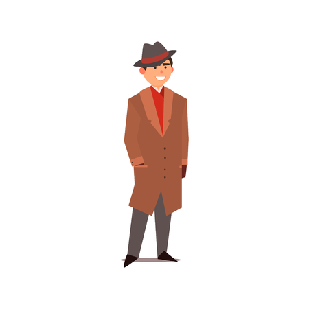 gangster background: Man Dressed As A Gangster Isolated Primitive Design Style Vector Illustration on White Background