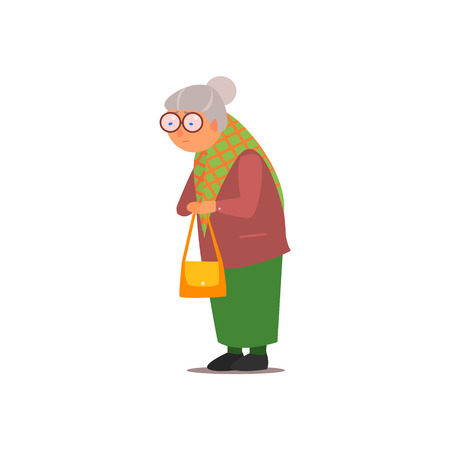bums: Old Lady Isolated Primitive Design Style Vector Illustration on White Background Illustration