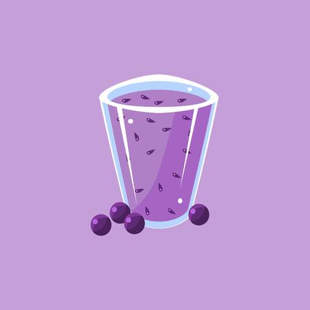 whortleberry: Blueberry Smoothie Cartoon Flat Vector Isolated Illustration On Violet Background Illustration