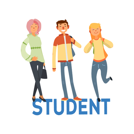 univercity: Student People Set Of Three Person Casually Dressed Simple Style Vector Illustration With Text On White Background