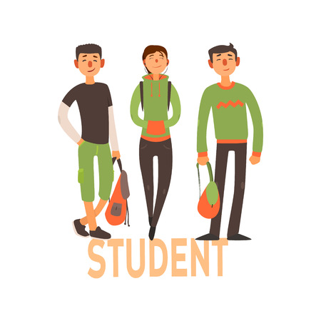 green clothes: Student People Set Of Three Person With Green Clothes Simple Style Vector Illustration With Text On White Background Illustration