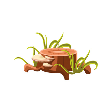 sawed: Fresh Stump With Mushrooms Flat Vector Design Isolated  Icon  On White Background