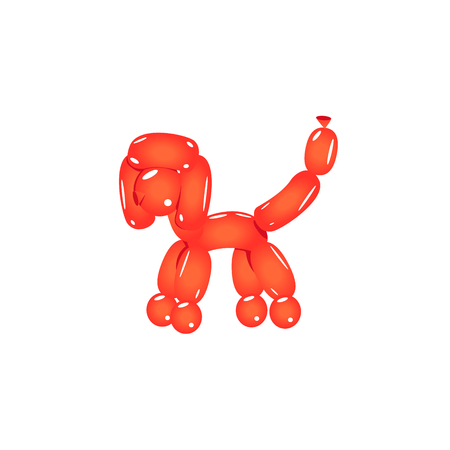 tuft: Red Balloon Poodle Realistic Vector Illustration Isolated On White Background