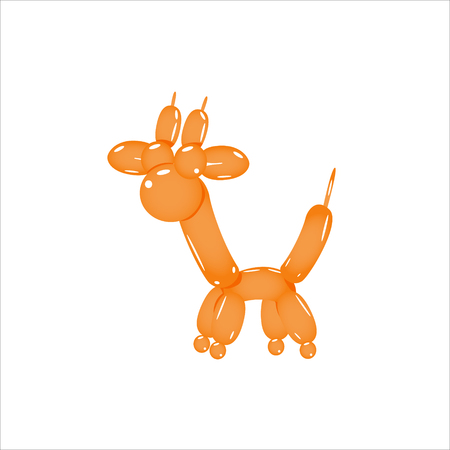 Orange Balloon Giraffe Realistic Vector Illustration Isolated On White Background