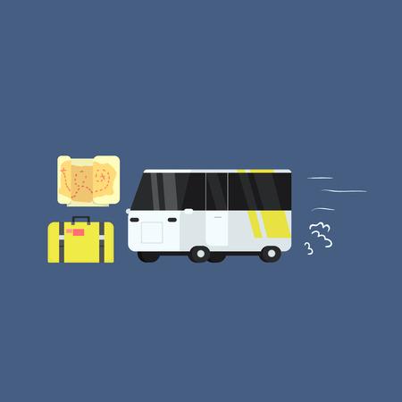 touristic: White Touristic Bus Primitive Graphic Style Flat Vector Icon On Blue Background