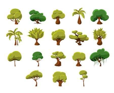 shapes cartoon: Tropical Trees Video Game Flat Vector Design Icons Set Of Isolated Items on White Background