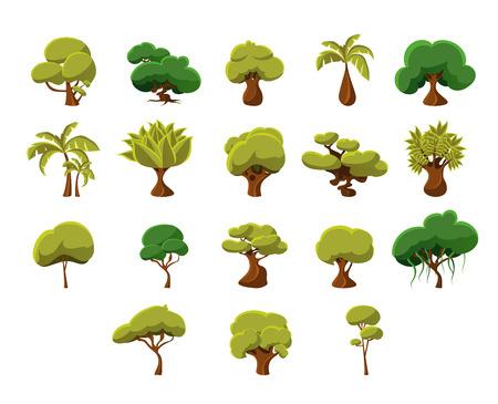 Video Tropical Trees gioco piatto disegno vettoriale di icone insieme di elementi isolati su sfondo bianco