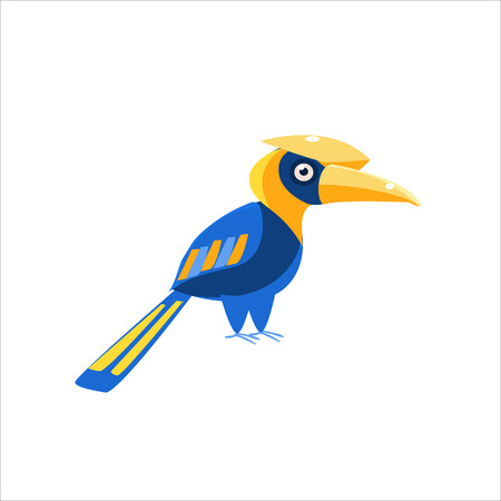 hornbill: Blue Hornbill Bird Flat Vector Illustration In Primitive Cartoon Style Isolated On White Background Illustration