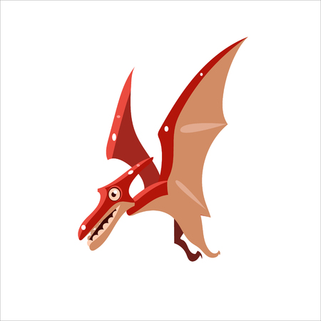 pterodactyl: Pterodactyl Mid-air Flat Vector Illustration In Primitive Cartoon Style Isolated On White Background Illustration