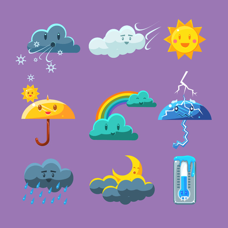 Childish Weather Set Of Flat Vector Cartoon Style Isolated Cute Girly Drawings On Light Blue Background