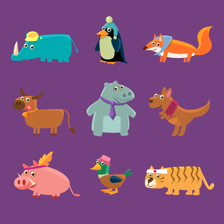 girly: Adorable Animals Collection Of Flat Vector Cartoon Style Isolated Cute Girly Drawings On Purple Background Illustration