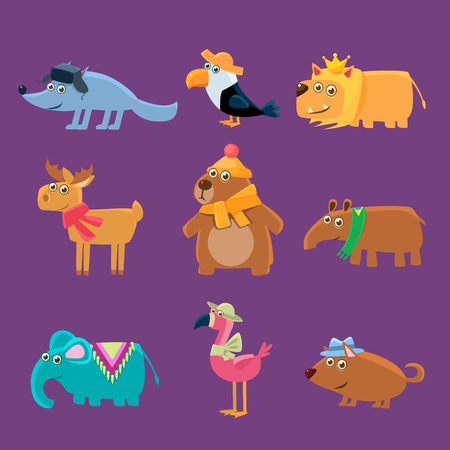 girly: Cute Animals Collection Of Flat Vector Cartoon Style Isolated Cute Girly Drawings On Purple Background Illustration