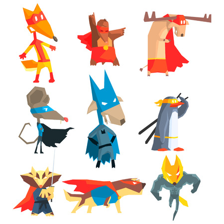 super dog: Super Hero Animals Flat Geometrical Design Vector Icon Collection On White Background