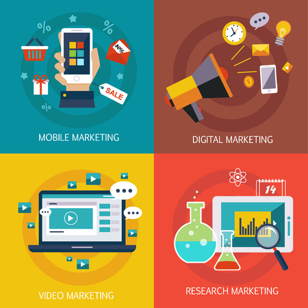 mobile marketing: Business banners Internet marketing, mobile marketing, digital, marketing research, video marketing. Vector flat style Illustration