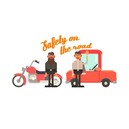 drivers: Traffic Code Friendly Drivers Flat Isolated Vector Image In Simplified Cute Childish Style On White Background Illustration