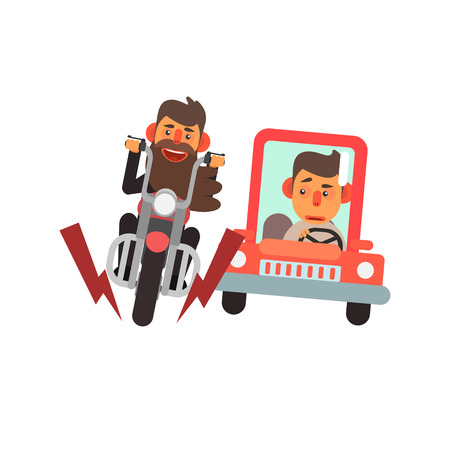 simplified: Traffic Code Motorcycle And Car Flat Isolated Vector Image In Simplified Cute Childish Style On White Background